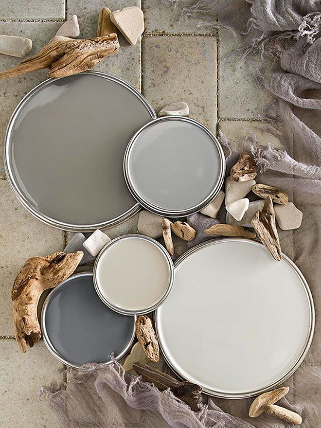 Neutral paint colors. Driftwood gray and creamy latte, neutral paint colors. Warm Gray Paint Colors, from top to bottom, Benjamin Moore Winter Gates AC-30, Coastal Pleasure 5048 Ace, Promotion 10D3 Truevalue, Seal Grey GLN46 Glidden, Silver Drop 790C-2 Behr. #BenjaminMooreWinterGatesAC30 #CoastalPleasure5048Ace #Promotion10D3Truevalue #SealGreyGLN46Glidden #SilverDrop790C2Behr Via Better Homes and Gardens
