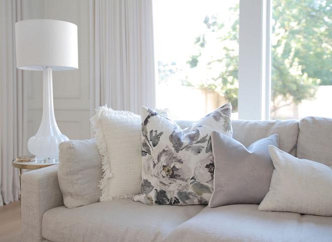 Neutral pillows. Living room with neutral pillows. Toss Pillows- Designers Guild -Shanghai Garden Ecru. Neutral pillows for living room. Neutral pillow combination. #Neutralpillows #Livingroom #neutral #pillows #pillow #neutralpillow jshomedesign