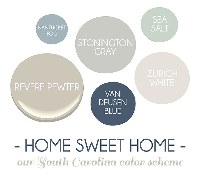 New paint colors for the modern home Benjamin Moore Sea Salt, Benjamin Moore Van Deusen Blue, Benjamin Moore Zurich White.