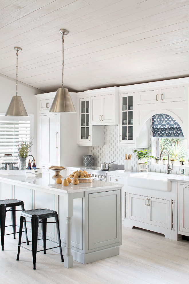 Pale Grey Island. Kitchen with white perimeter cabinets, pale grey island and whitewashed wood ceiling. Pale Grey Island. Kitchen with white perimeter cabinets, pale grey island and whitewashed wood ceiling #PaleGreyIsland #Kitchen #greykitchenisland #palegrey #whitewashed #woodceiling Lisa Michael Interiors