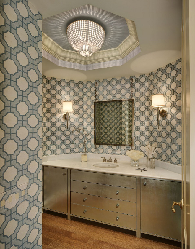 Phillip Jeffries imperial gates wall covering. Powder room with wallpaper. Wallpaper is Phillip Jeffries imperial gates wall covering. #Powderroom #wallpaper #wallcovering #PhillipJeffries #imperialgates