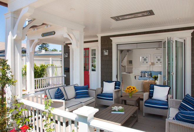 Porch with ceiling mounted heaters. Front porch with ceiling mounted heater. Ceiling mounted heaters. #ceilingmountedheaters #porch #porchheater Flagg Coastal Homes