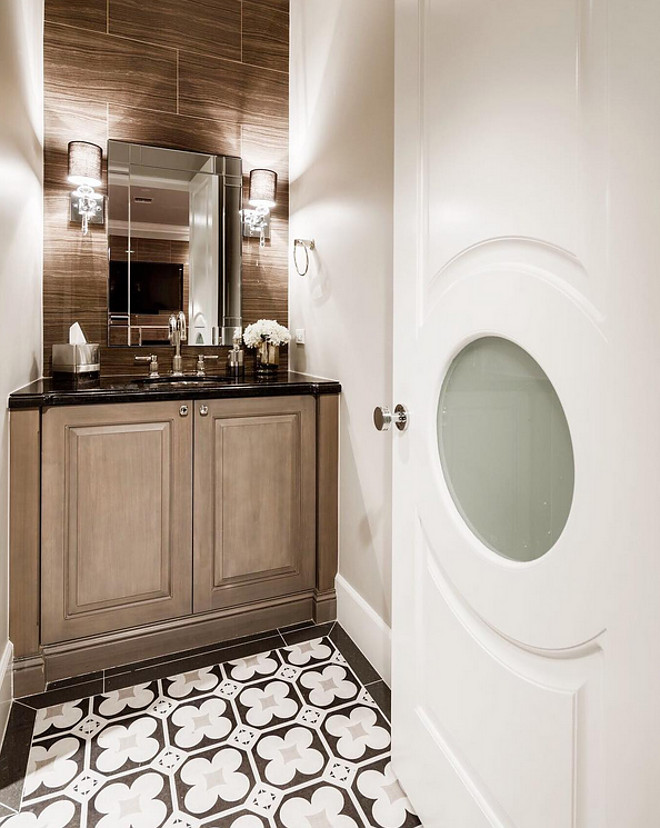 Powder room door and floor tile. Great idea for powder room door and floor tile. Powder room door and floor tile ideas. #Powderroom #door #floortile #floor #tile A Finer Touch Construction,LLC