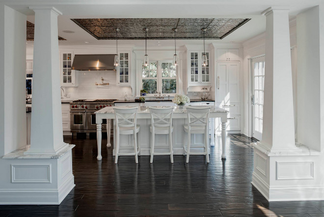 Rustic Hardwood floor. Dark stained rustic hardwood floor. The rustic floors are by Zanella, they are a handscraped walnut with a foot worn finish. #RusticHardwoodfloor #Hardwoodfloor #Darkstainedrustichardwoodfloor Jane Kelly, Kitchen and Bath Designer