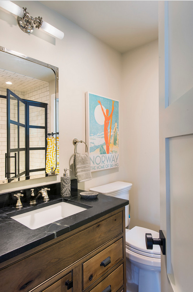 Rustic Bathroom. Small Rustic Bathroom. Countertop is Soapstone. Cabinet is Starmark. Stain: Natural with chocolate glaze. Shower Enclosure: Coastal Shower Doors Grid line. Small Rustic Bathroom Design. Small Rustic Bathroom #Small #Rustic #Bathroom #SmallRusticBathroom Caldwell & Johnson Custom Builders & Remodelers