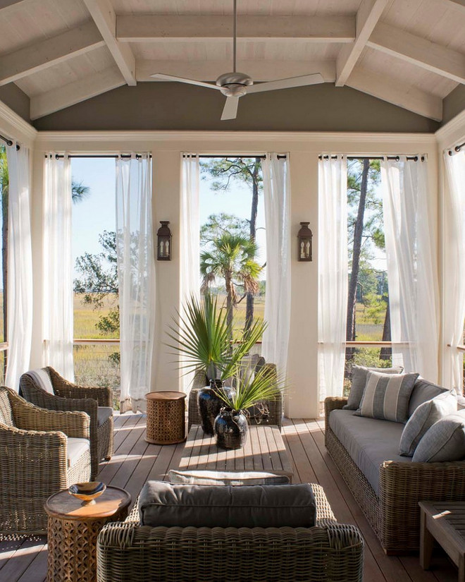 Screened in porch. Screened in porch with ceiling fan. Screened in porch. Screened in porch fan. Screened in porch #Screenedinporch Beth Webb Interiors. Wayne Windham Architect, P.A.