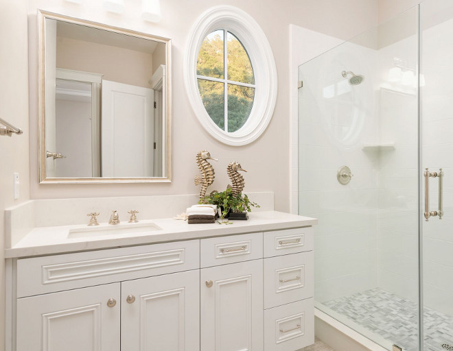 Sherwin Williams Extra White. White bathroom cabinet paint color Sherwin Williams Extra White. Sherwin Williams Extra White #SherwinWilliamsExtraWhite