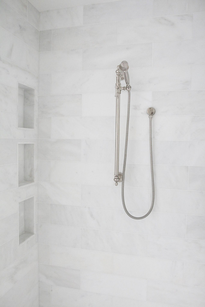 Shower Tile. Shower tile ideas. Shower walls feature 16x18 Statuario marble tiles. floor border and shower walls. #Showertile #shower #tile #Showerwalls #16x18 #Statuariomarble #marbletiles #Statuario #floorborder #showerwalls jshomedesign