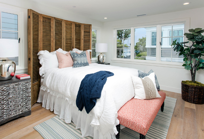 Shutters used as headboard. Bedroom with shutters behind bed used as headboard. DIY shutter headboard. #DIY #shutterheadboard #DIYheadboard Blackband Design
