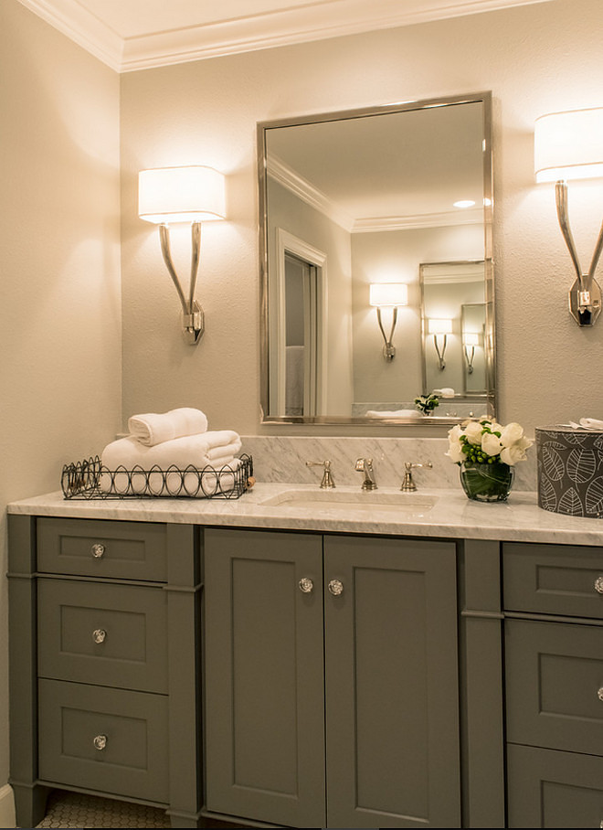 Small Bathroom Cabinet. Small Bathroom Cabinet. Small Bathroom Cabinet painted in grey and white carrara marble countertop. #SmallBathroomCabinet #SmallBathroom #BathroomCabinet #bathroom #cabinet BRADSHAW DESIGNS LLC
