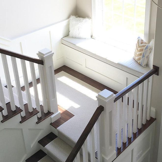 Staircase window seat. Neutral Staircase window seat with linen cushion. Staircase window seat. Staircase window seat ideas. #Staircasewindowseat #Staircase #windowseat Beautiful Homes of Instagram carolineondesign
