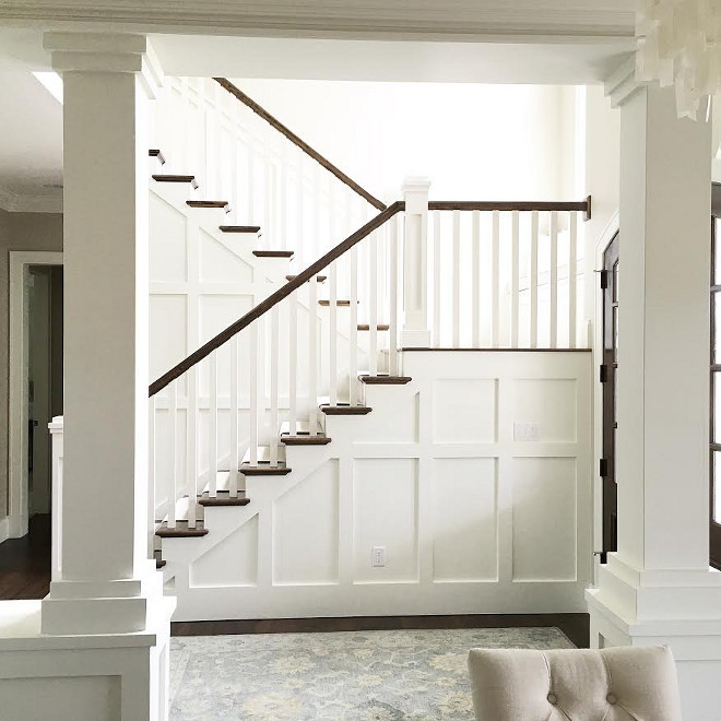 Stairway paneling, wainscotting. Side of stairway paneling, wainscoting. Stairway paneling, wainscotting ideas. Stairway paneling, wainscotting. #Stairwaypaneling #Stairwaywainscotting #Stairway #paneling #wainscoting Beautiful Homes of Instagram carolineondesign