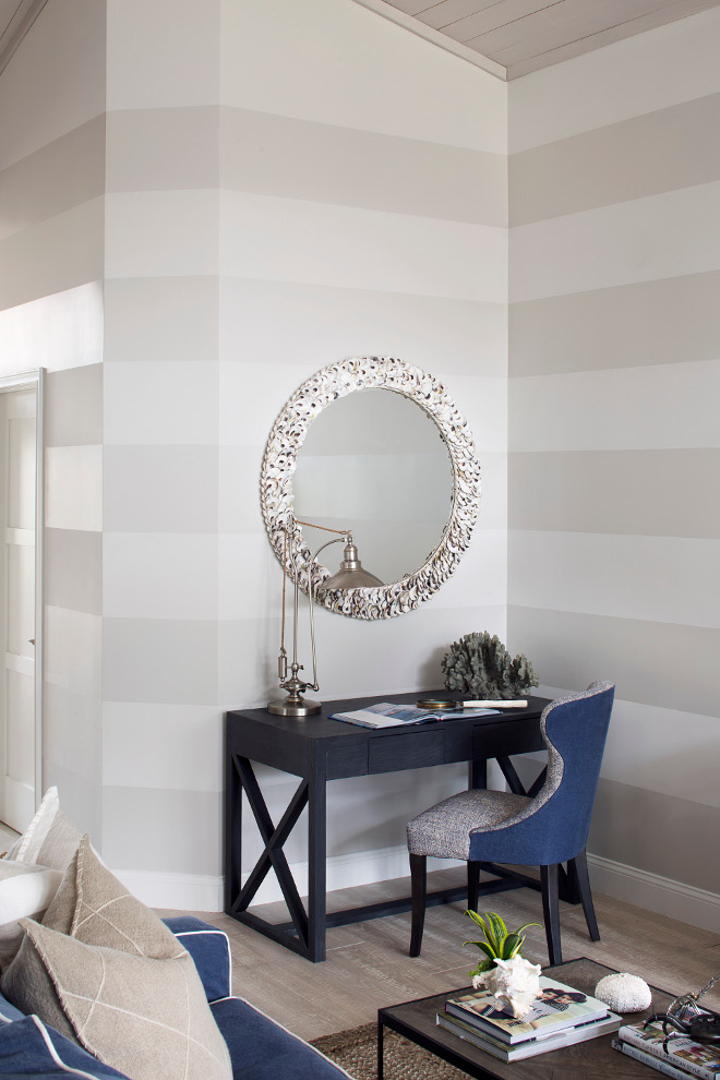 Striped Wall. Neutral Striped Wall Paint Color. The paint color here is Benjamin Moore Balboa Mist with 25 percent white added AND Benjamin Moore Balboa Mist at 100 percent pearl finish. That's what gives it the dimension. Stripes Wall. Neutral colors for Striped Wall #StripeWall #NeutralStripedWall #PaintColor #stripes #StripedWallIdeas #Neutralcolors StripeWall