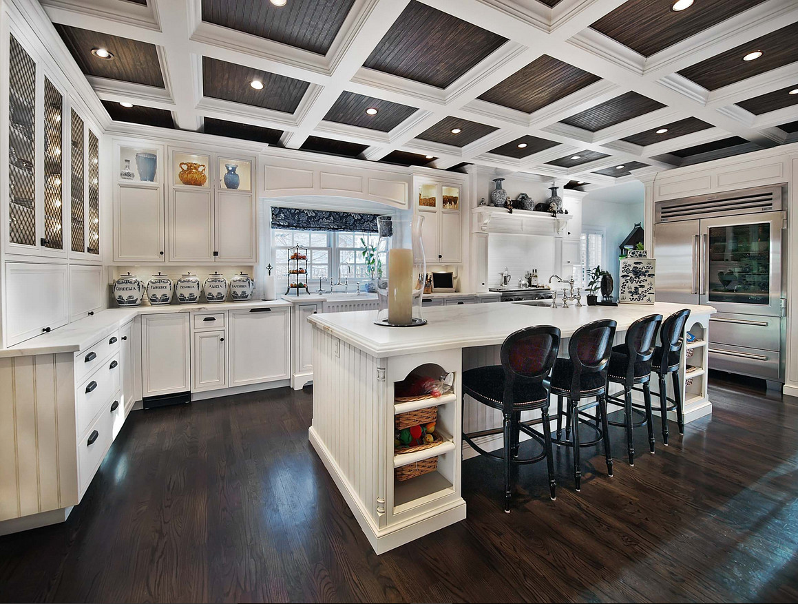 Kitchen coffered ceiling with dark stained beadboard paneling. Kitchen coffered ceiling with dark stained beadboard paneling. #Kitchen #cofferedceiling #darkstained #beadboardpaneling #beadboardceiling Teri Fotheringham Photography William Ohs