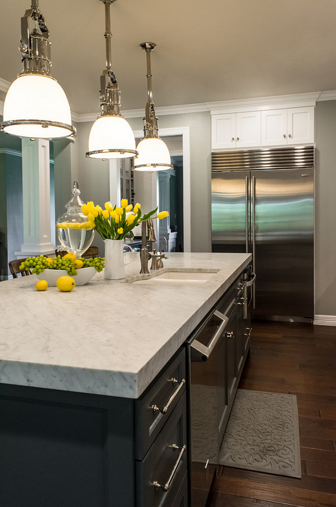 Thick marble countertop. Thick white marble. Thick marble countertop ideas. The thick piece of marble is honed carrara marble. #Thickmarblecountertop #Thickwhitemarble #countertop BRADSHAW DESIGNS LLC