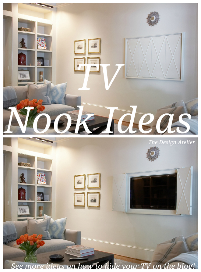 Tv Nooks TV Nook Ideas. How to hide tvs. #TVNooks The Design Atelier