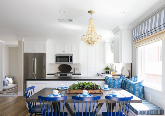 U-shaped Kitchen. U-shaped Kitchen with built in banquette on back of peninsula. U-shaped Kitchen with built in banquette. U shaped Kitchen with built in banquette on kitchen peninsula #UshapedKitchen #kitchen #builtinbanquette #kitchenpeninsula Brooke Wagner Design