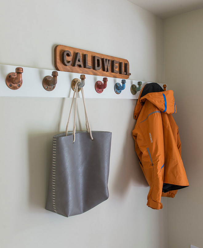 Wall color Ben Moore Jute. Coat Hangers made by Monroe Trades, Brooklyn. Caldwell & Johnson Custom Builders & Remodelers