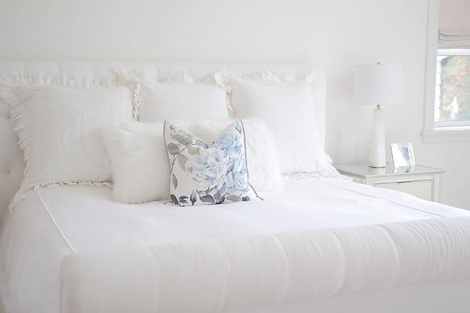 White Bedding. White Bedding. White Bedding. Bedroom with white bedding. Bedding- Duvet cover- Pottery Barn. Shams andtoss pillows Anthropologie #WhiteBedding #Bedding jshomedesign