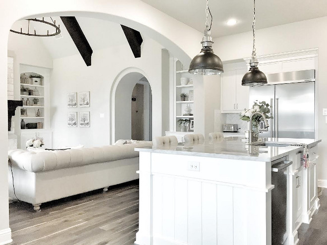 White Kitchen island paint color. Crisp white kitchen island cabinet paint color. Crisp white kitchen island paint color is Sherwin Willams Pure White #Crispwhite #kitchenisland #cabinet #paintcolor #white #kitchen #island #paintcolor #SherwinWillamsPureWhite mytexashouse