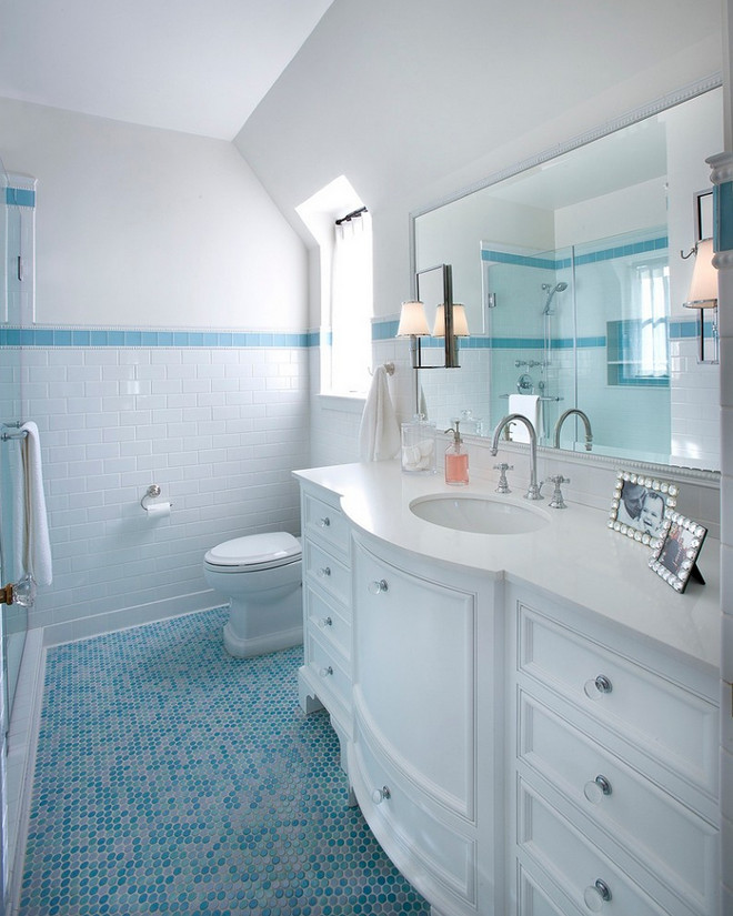White bathroom with blue penny tile floor. Kids White bathroom with blue penny tile floor. White bathroom with blue penny tile floor #Whitebathroom #bluepennytilefloor #pennytilefloor #kidsbathroom #bathroom