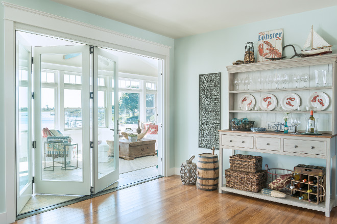 Whitewashed hutch. Dining room with whitewashed hutch. Whitewashed hutch. #Whitewashedhutch #hutch Caldwell & Johnson Custom Builders & Remodelers.
