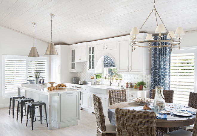 Whitewashed shiplap ceiling. Kitchen with whitewashed shiplap ceiling. Kitchen whitewashed shiplap ceiling ideas. #whitewashedceiling #shiplap #ceiling Lisa Michael Interiors