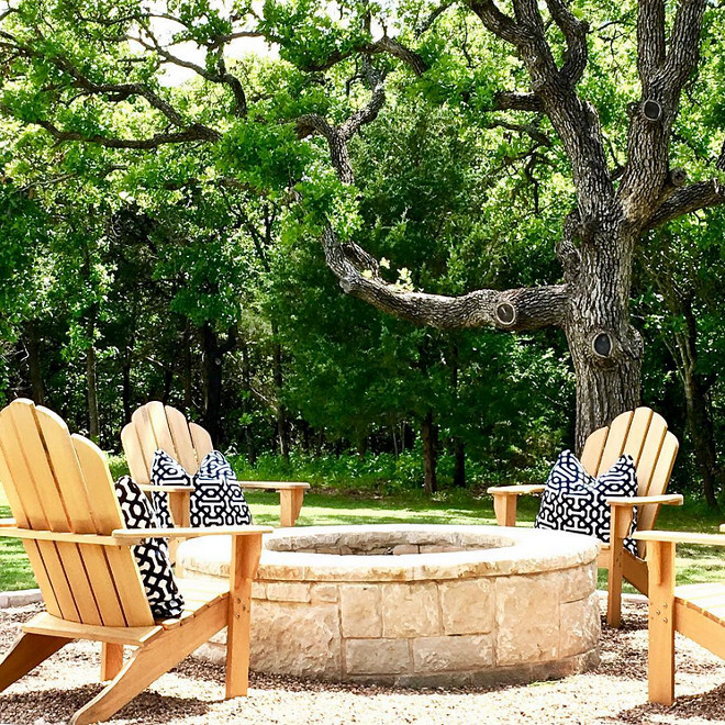 Firepit chairs. Firepit. Stone is Cottonwood. #Firepit Home Bunch's Beautiful Homes of Instagram curlsandcashmere