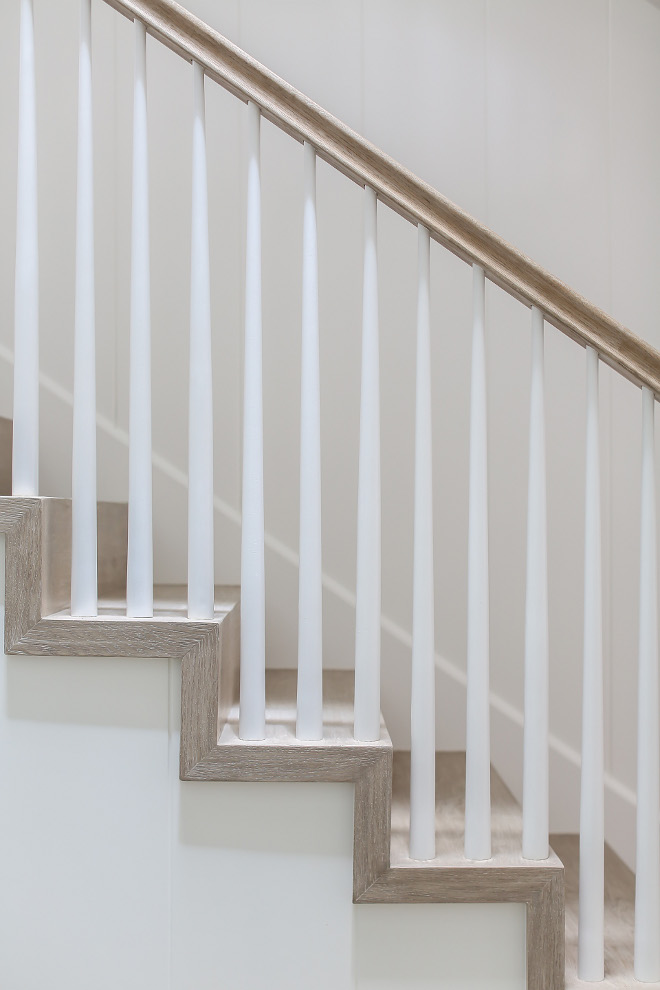 "Staircase. Staircase balusters. 4 treads with 2"" mitered skirting for transitional look. Tapered balusters with NO transition post at corners for cleaner look What a great take on staircase balusters! I am loving this new fresh look! Winkle Custom Homes. Melissa Morgan Design. Ryan Garvin Photography"