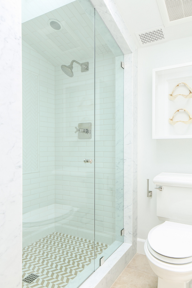 Shower Framing. Marble shower jambs framing out shower. Shower Framing. Shower Marble Framing. #ShowerFraming #marble #shower #frame Winkle Custom Homes. Melissa Morgan Design. Ryan Garvin Photography