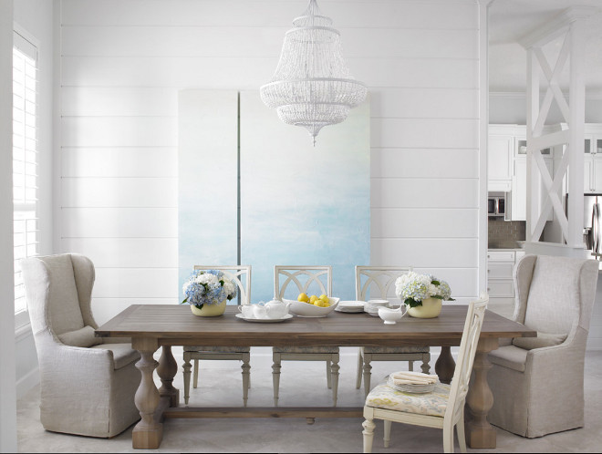 All white dining room. All white dining room with white chandelier. White chandelier is Feiss 6 Light Single Tier Chandelier, White Semi Gloss . #White #diningroom #whitechandelier #chandelier Celtic Home Gallery
