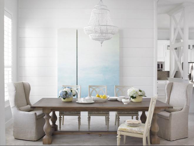 All white dining room. All white dining room with white chandelier. White chandelier is Feiss 6 Light Single Tier Chandelier, White Semi Gloss . #White #diningroom #whitechandelier #chandelier Celtic Home Gallery