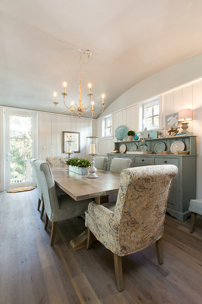 Arched Ceiling. Dining room Arched Ceiling and wall planks. Coastal Dining room Arched Ceiling and wall planks #Diningroom #ArchedCeiling #wallplanks Coralberry Cottage