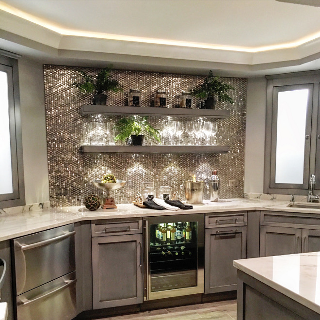 Basement Bar Open Shelves. Kitchenette Backsplash: Brushed Chromium Penny Tile with a porcelain backing by SomerTile. Floating shelves on basement bar Beautiful Homes of Instagram Sumhouse_Sumwear