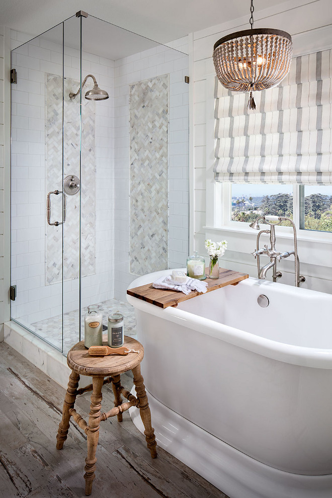 Bathroom. Bathroom. White bathroom with shiplap walls, reclaimed wide plank hardwood floors. #bathroom #shiplap #shiplapbathroom #wideplank #hardwood bathroom Tracy Lynn Studio