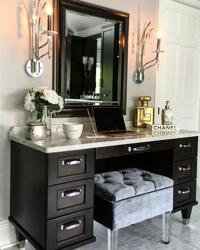 Bathroom Vanity. Makeup vanity Sconces are by Kichler #42929 in polished chrome. Beautiful Homes of Instagram Sumhouse_Sumwear