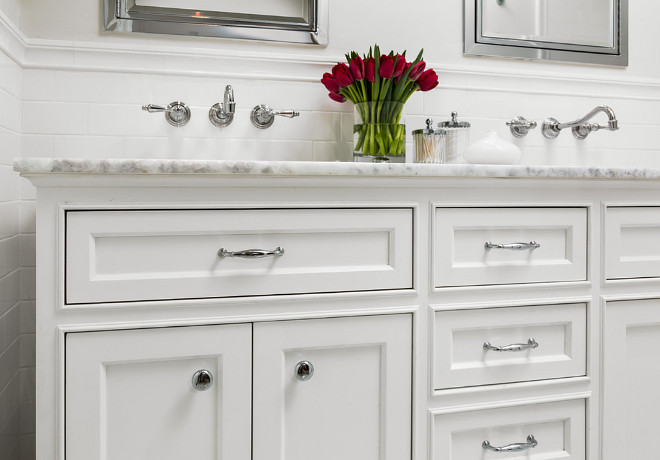 "Bathroom Vanity. Narrow Bathroom Vanity. This bathroom was particularly narrow so we built this vanity 18"" deep to allow plenty of room within the bathroom. #narrowbathroomvanity #vanity #narrowvanity Robert Frank Interiors. Clark Dugger Photography"