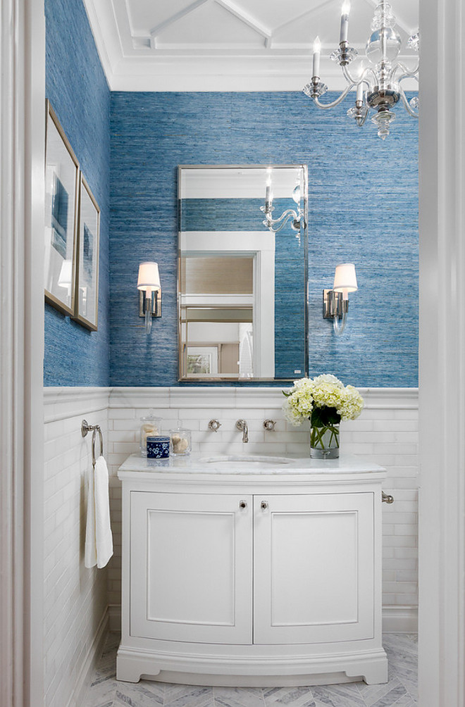 Bathroom marble tile wainscoting. Bathroom marble wall tile wainscoting. Paint and lacquer were Dunn Edwards White Picket Fence. Bathroom marble wall tile wainscoting. Bathroom marble wall tile wainscoting #Bathroom #marble #walltilewainscoting #tilewainscoting #walltile Robert Frank Interiors