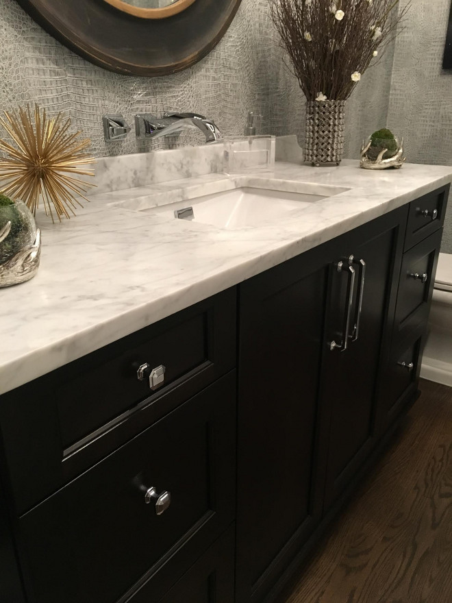 Bathroom white quartzite countertop. Vanity: Brookhaven Edgemont Recessed by Wood-Mode in Java. Hardware: Tob Knobs Emerald Knob pulls in Polished Chrome. Pulls: Chareau Collection Emerald Pull in Polished Chrome. Beautiful Homes of Instagram Sumhouse_Sumwear