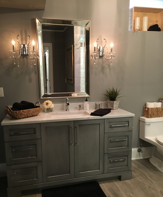Bathroom. Grey bathroom cabinet. Custom cabinets are from A.W.E (Artistic Wood Expressions) Color: Custom paint and glaze. Beautiful Homes of Instagram Sumhouse_Sumwear
