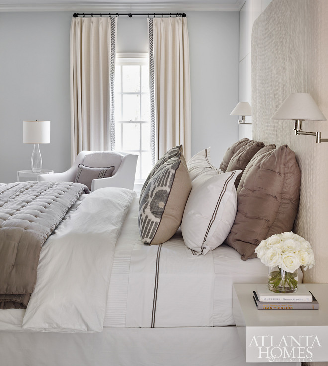 Bedroom Color Scheme of neutral beiges and pale greys. Bedroom Color Palette #Bedroom #colorpalette Beth Webb Via Atlanta Homes magazine.