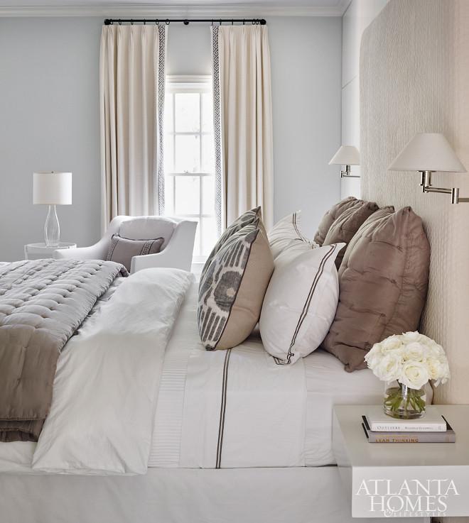 Bedroom Color Scheme of neutral beiges and pale greys. Bedroom Color Palette #Bedroom #colorpalette Beth Webb Via Atlanta Homes magazine.