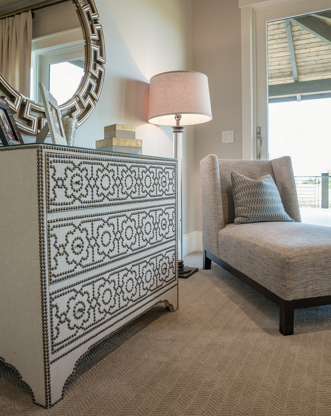 Relaxing reading nook in this master bedroom. Chaise is by Lee Industries in Pindler fabric, floor lamp by RH and nailhead dresser by Bernhardt Furniture. bedroom-sitiing-area Restyle Design, LLC.