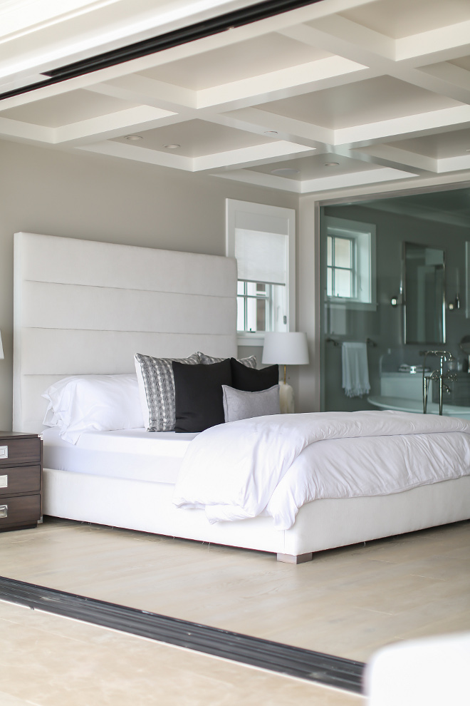 Bedroom Bed. Master bedroom bed is custom designed and fabricated by Melissa Morgan Design. in a white velvet fabric, it is also pre-treated for any staining. #bedroom #bed #velvet #whitebed Winkle Custom Homes. Melissa Morgan Design. Ryan Garvin Photography