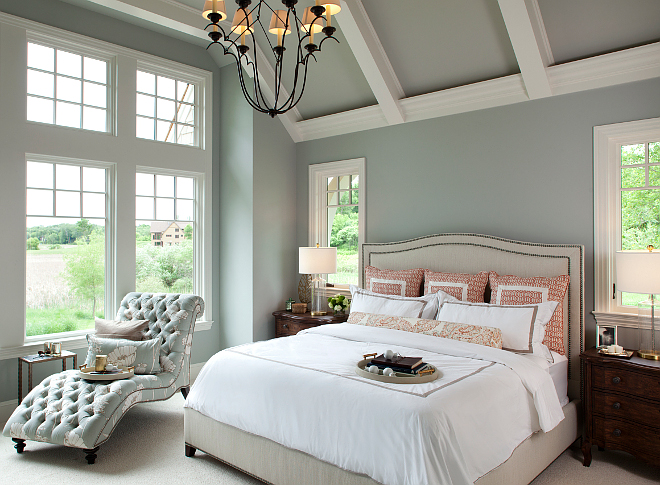 This paint color is perfect for a bedroom - Benjamin Moore Half Moon Crest 1481. Ceiling paint color is Benjamin Moore mix 50% White/50% Half Moon Crest 1481. Trim paint color is BM Icicle 2142-70. blue-gray-paint-color-benjamin-moore-half-moon-crest-1481 Vivid Interior Design. Hendel Homes