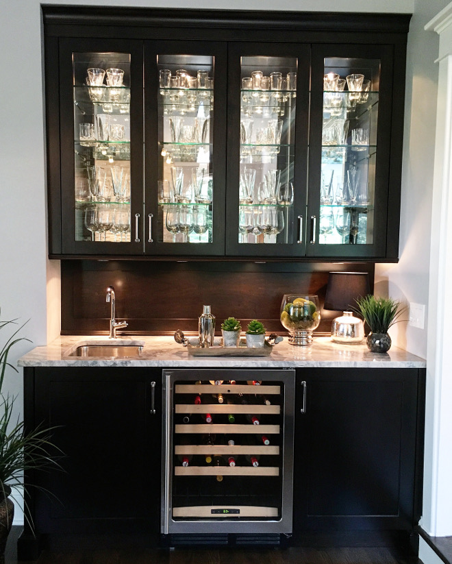 Wet Bar. Kitchen wet bar cabinet. The wet bar is in dark wood with a wood backsplash because I wanted this to be a more masculine feature in the home. #wetbar #bar #wetbarcabinet #kitchenbar #barccabinet Beautiful Homes of Instagram Sumhouse_Sumwear