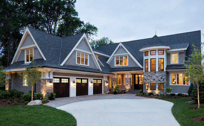 Home Exterior combines Shingle and stone. Home Exterior combines Shingle and stone.  #HomeExterior #Shingleandstone combination-of-shingles-and-stone-home-exterior.  Hendel Homes. Vivid Interior Design - Danielle Loven.