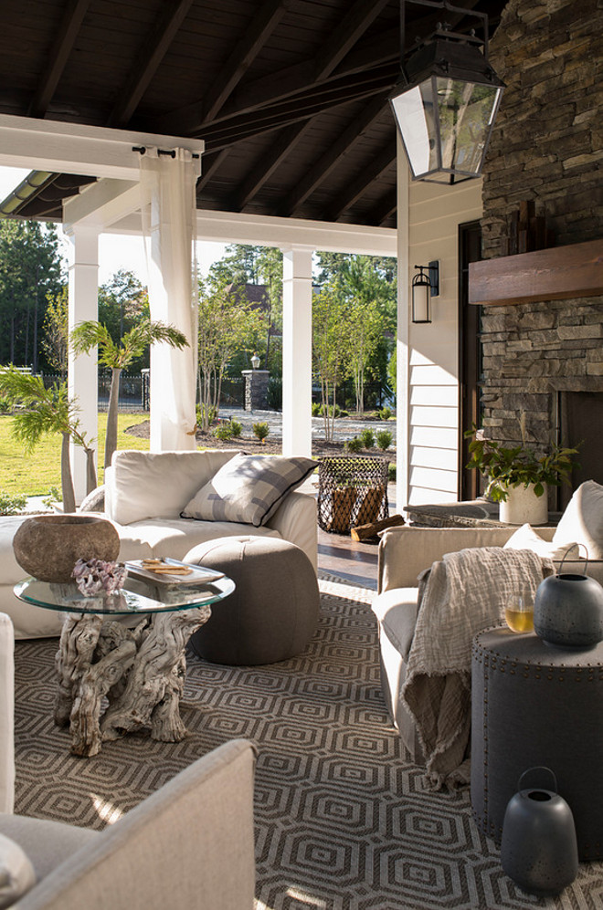Comfortable outdoor furniture and rug. How to create a comfort feel in outdoor living areas. Heather Garrett Design