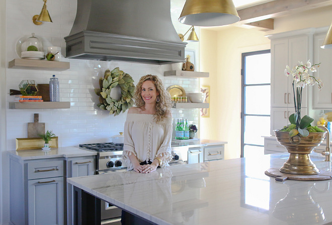 Custom kitchen. Custom kitchen. Custom kitchen with grey hood and floating shelves. #Customkitchen #kitchen Home Bunch's Beautiful Homes of Instagram curlsandcashmere