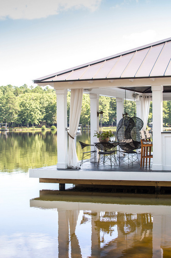 Covered Dock. Boat dock converted into a party, covered dock. Dock. #Dock #Covereddock Heather Garrett Design